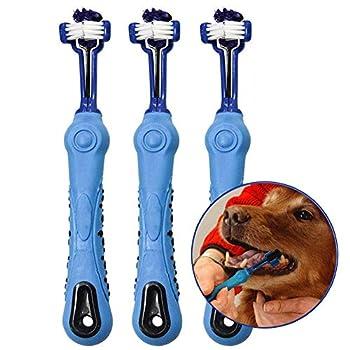Aidiyapet Brosse à Dents pour Chien pour Animal Domestique Soin des Dents – Trois Têtes Brosse à Dents – Recommandé par Les vétérinaires et Toiletteurs (Bleu)