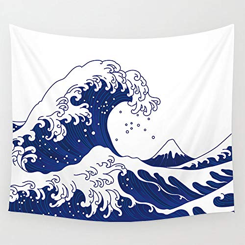 KHKJ Gran Ola Kanagawa Tapiz de Pared de Arte japonés Pintura de Pared Ukiyo-E Kanagawa Tapices de Pared de Surf para Vivir A5 150x130cm