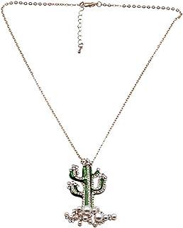Dorada Amosfun Collar con Colgante de Cactus Elegante Collar con dijes para Mujer Decoraci/ón de Fiesta Tropical