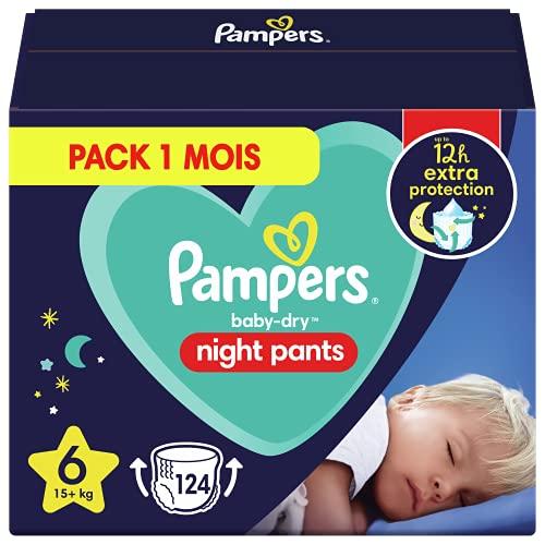 Pampers - Baby Dry Night Nappy Pants Talla 6, 124 pañales, 15 kg+, Pantalones De Noche Pampers Ofrecen Protección Adicional Durante Toda La Noche