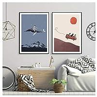 絵画 北欧の漫画のポスターとプリント3匹の犬アドベンチャームーンキャンバス絵画壁の絵子供の寝室の家の装飾-(60x80cm)x2pcsフレームレス