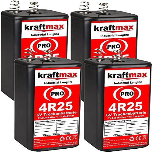 kraftmax 4er Pack 4R25 PRO - 6V Hochleistungs- Industrial Longlife Blockbatterie - 6 Volt Batterie Block - NEUSTE Generation 4R25X