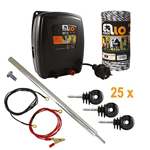 Ellofence Hobby Weidezaun Starterset komplett mit Weidezaungerät, Weidezaunlitze, Erdpfahl und Isolatoren - Extrem leises Gerät ! 230V