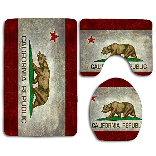 NEWCOCO Toilet Seat Cover Bath Mat Lid Cover,3pcs/Set Rugs California Republic State Flag - Vintage Retro Version
