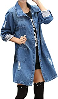 Women Long Single-Breasted Denim Coats Rollable Sleeves Jean Jacket with Pockets