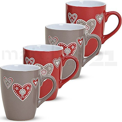 matches21 Bunte Becher Tassen Kaffeetassen Kaffeebecher Landhaus Herzen 4er Keramik 10 cm / 350 ml - ohne Tassenhalter