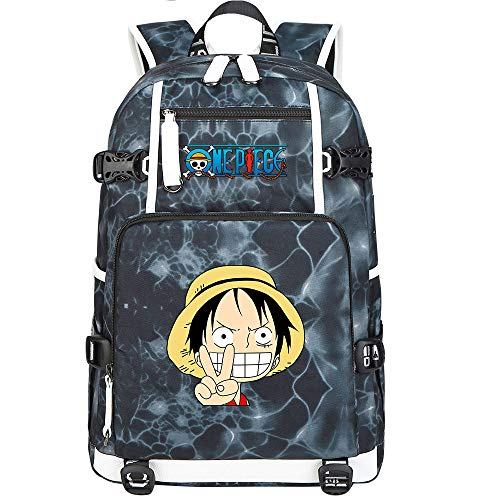 ZZGOO-LL One Piece Monkey·D·Luffy/Roronoa Zoro Mochila con para Mujer, Mochila de Viaje Suave, Mochila para Escuela, Notebook, Mochilas para niñas con USB-F
