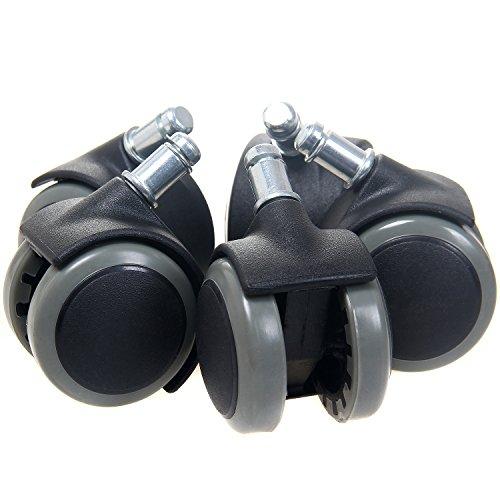 TUKA 5er Hartbodenrollen Bürostuhl Drehstuhl Rollen, Stuhlrollen Parkett 11 mm, Büro-Stuhl-Rollen für Hartböden, Grau, TKD3200 Grey