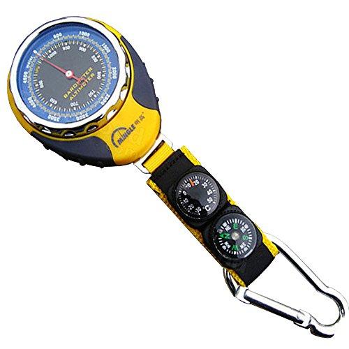 firstwish 4Funktionen in 1Mini Digital Höhenmesser Kompass Thermometer Barometer Ausrüstung mit Karabiner