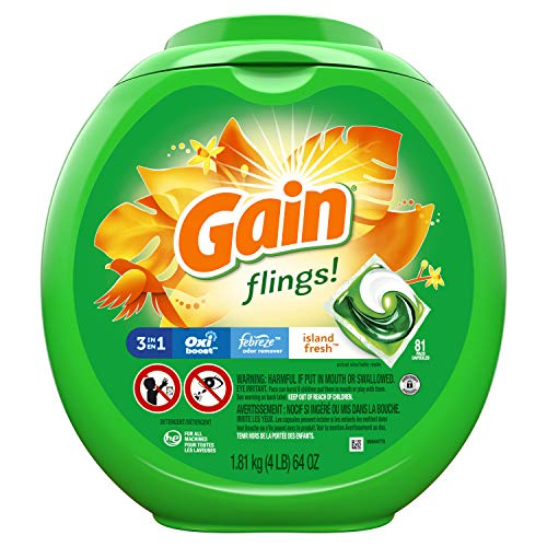 Gain flings! Laundry Detergent Pacs plus Aroma Boost, Island Fresh Scent, HE...