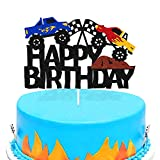 Ohiviaaa Monster Car Cake Topper for Kids Boy Girl Trucks Vehicle Racing Car Themed First 2nd 3th Happy Birthday Party Supplies Black Glitter Cake Decorations