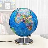 Globo del Mundo Iluminado de 12,6 Pulgadas con Soporte: Globo de Oficina Educativo Integrado con luz LED con Mapa del Mundo y Vista de constelación para la decoración de la Oficina en casa
