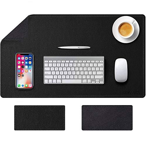 Tappetino Scrivania, Sottomano da Ufficio, 80cm x 40 cm Similpelle PU Tappetino per Laptop Impermeabile Tappetino da scrittura Doppia Facciata Nero Tappetino Mouse Gaming