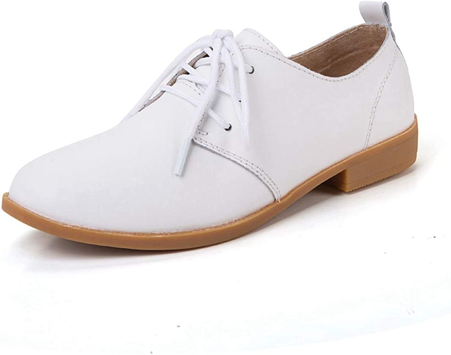 August Jim Women Oxfords shoes,Lace Up Ladies Casual shoes White Black
