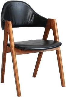 Bar stoolsQX Sillas de Cocina sólida de Comedor Silla de Madera Comedor Hippo Volver Grueso Soporte y reposabrazos Silla Mesa Muebles Silla de recepción Informal - Negro PU Mobiliario de Comedor