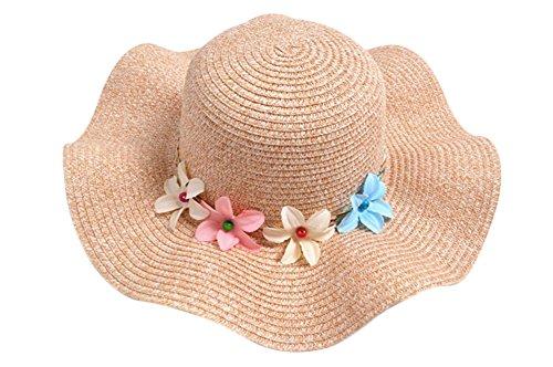 Monbedos Sombrero de paja para niñas con diseño floral, sombrero de