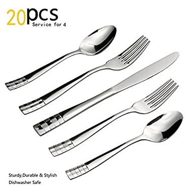 Silverware Set, 20 Pieces Flatware Set with Fork, Knife and Spoon, Service for 4 by KITCHENTREND