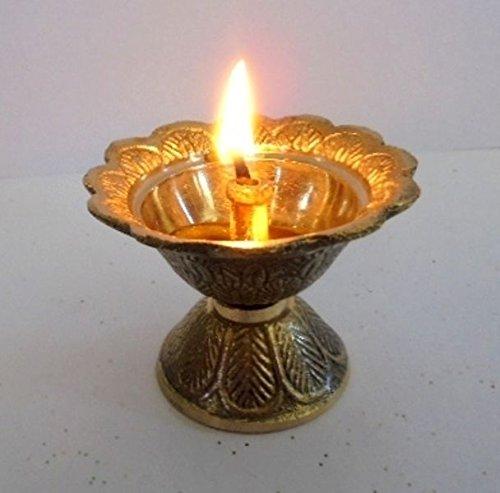 Artcollectibles Inde Laiton Diya Deepak Akhand Jyot Kouber Temple hindou Havan Pūjā religieux lampe à huile