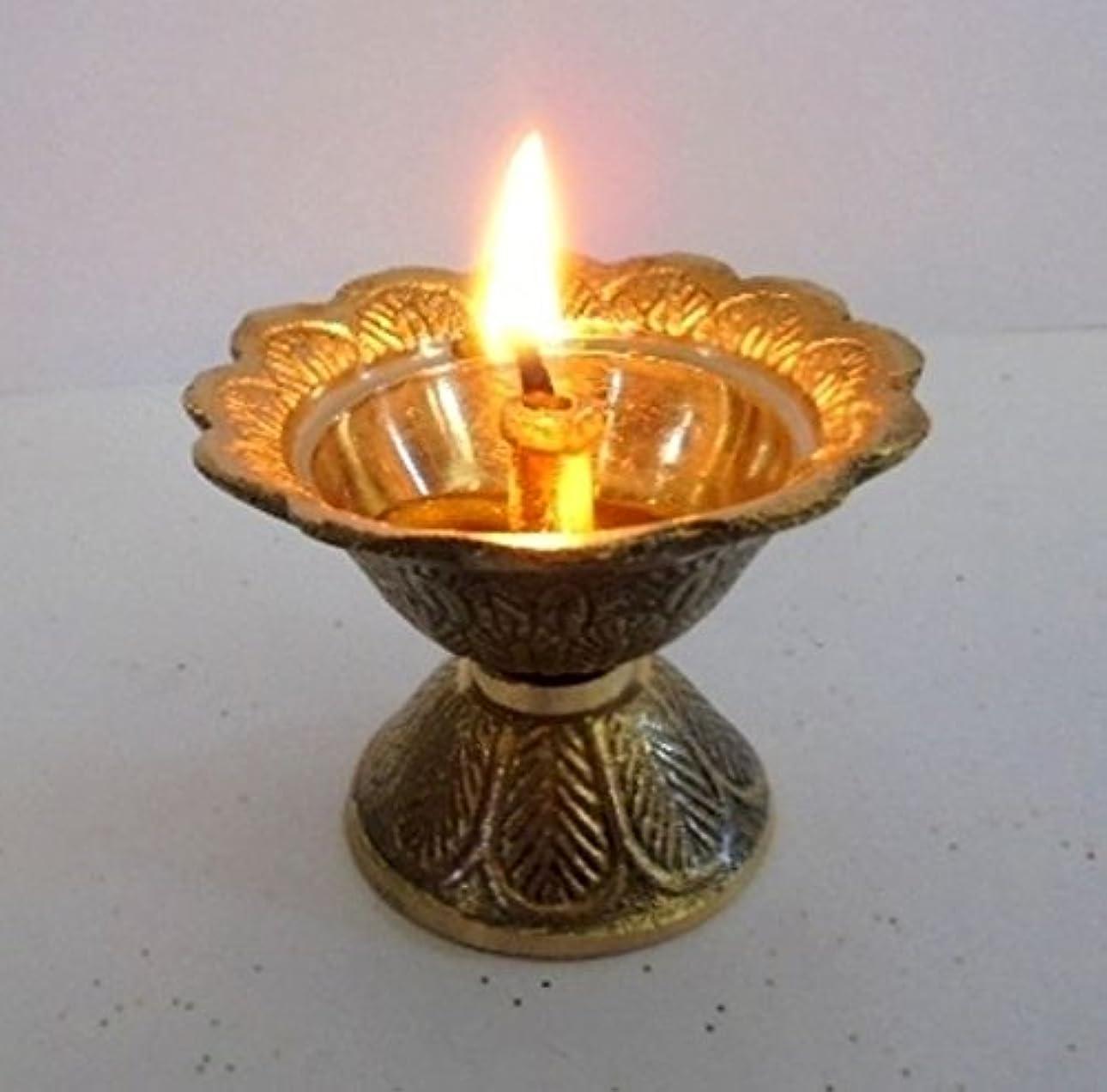 百年うぬぼれた資本Artcollectibles India Brass Diya Deepak Akhand Jyot Kuber Hindu Temple Havan Puja Religious Oil Lamp