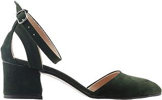 Ayakland 97544-384 Günlük 5 Cm Topuk Bayan Süet Sandalet Ayakkabı YEŞİL