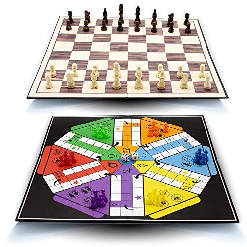 """GET2GATHER 16"""" Chess Set & Ludo Board Game , 2 in 1 Board Games for Kids and Adults- Folding and Portable Travel Chess Board Game Sets with Family Parcheesi Game for 2-6players"""