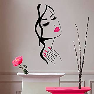 Wall Decal Beauty Salon Manicure Nail Salon Wall Art Sticker Beautiful Girl Face Lips Home Decor Stickers Barber Shop Hairstyle Decoration Wall Mural M-73 (Black+Pink Lips, 57x130cm)