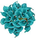 ALIERSA 10 Heads Mini Calla Lily Bridal Wedding Bouquet Real Touch Flower Bouquets (Dark Teal)