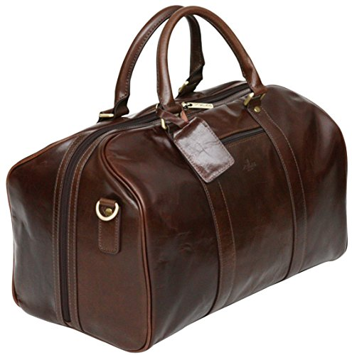 S Babila Genuine Leather Holdall Bag - Brown