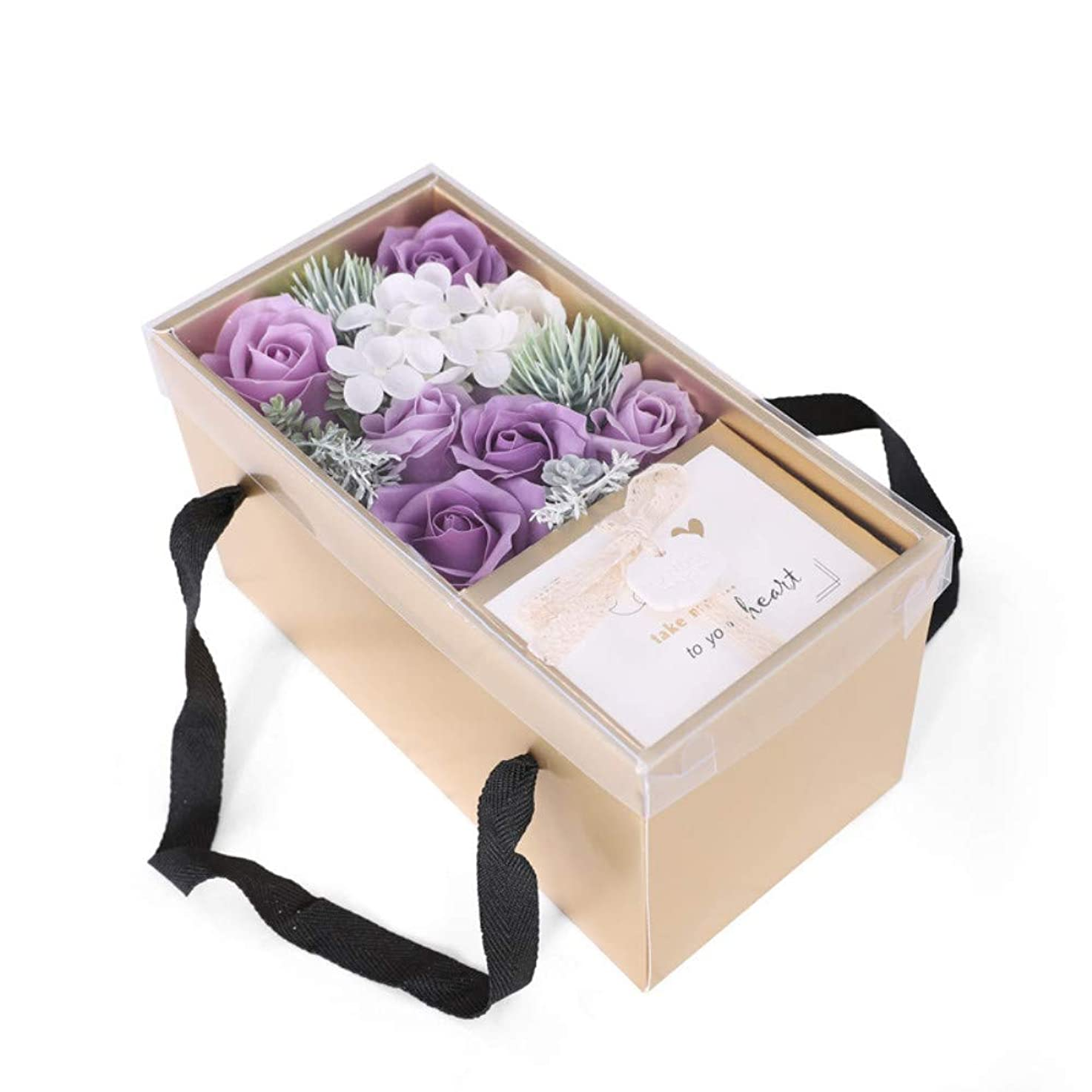 奇跡男マイコン生地と花石鹸の花 バスソープフラワーローズフラワーバレンタインデーのために必須ガールフレンド記念日誕生日母の日ポータブルギフトボックス (色 : 紫の)