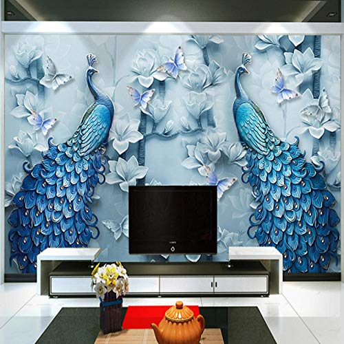 Papel Adhesivo Pared Mariposa Pavo Real De Jade Azul Pegatina Mural 3D Paneles Decorativos Wallpaper Extraíble Impermeable Decor De Hogar Cocina Salón Moderna 400X280Cm