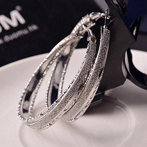 Janly Clearance Sale Women Earrings Hoop , Circle Ear Hoop , Dangle Drop Earrings Piercings Jewelry for Ladies , Valentine's Day Birthday (Silver)