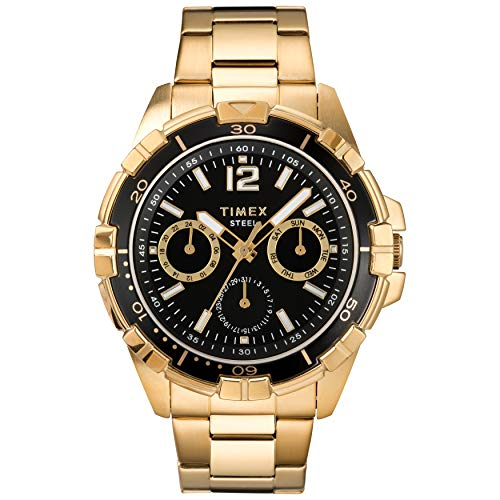 Timex Men's Dress Analog 45mm Stainless Steel Multifunction Bracelet Watch, Gold-Tone/Black