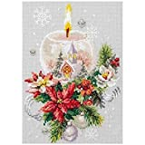 treseds Navidad Vela Campanas Patrones contados Punto de Cruz 11CT 14CT 18CT DIY Kits de Punto de Cruz Chino Bordado (Color : White, Cross Stitch Fabric CT Number : 18CT White Canvas)