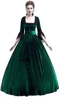 Centory Womens Medieval Victorian Costume Dress Renaissance Asymmetric Fancy Square Collar Dresses