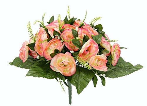 Flair Flower Künstliche Blumen Ranunkeln Unechte Blumen Deko Künstlich Gefälschte Seide Dekoration Plastik Blumenarrangements Hochzeit Blumenstrauß Seidenblumen Tisch-Mittelstücke Bouquet mit Blätter