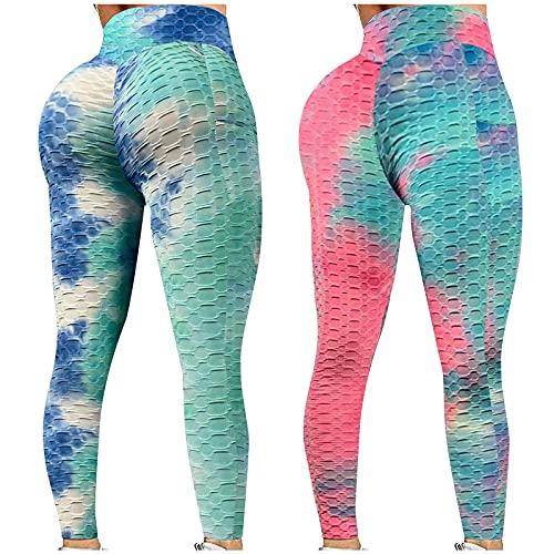 2 Piezas Pantalon Yoga Mujer Tie-Dye con Bolsillos Pantalones Deportivos Leggings Levantamiento de Cadera con Burbujas Jacquard Mallas de Deporte de Mujer Gimnasio Fitness