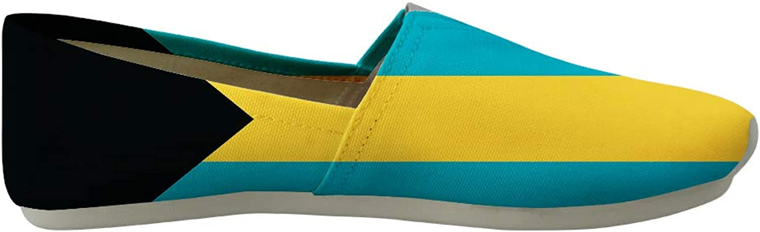 Owaheson Classic Canvas Slip-On Lightweight Driving shoes Soft Penny Loafers Men Women Bahamas Flag