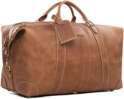 ROCKCOW Vintage Look Mens Leather Weekender Duffel Bag Luggage Holdall