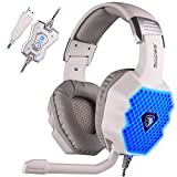 Sades A70 7.1 Surround Sound Gaming Headset Stereo PC fascia delle cuffie con microfono ad alta fedeltà di controllo remoto USB Plug fredda respirazione Luci LED (bianco)