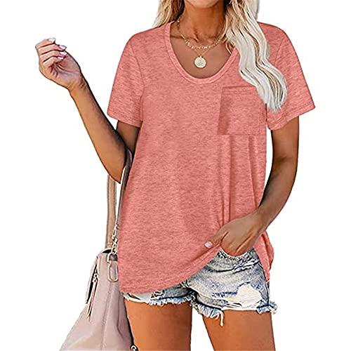 Camisa Mujer Elegante Color Sólido Simple Fibra Elástica Camiseta para Mujer Transpirable Cuello Redondo Tops De Manga Corta Camiseta Suelta para Mujer B-Pink 5XL