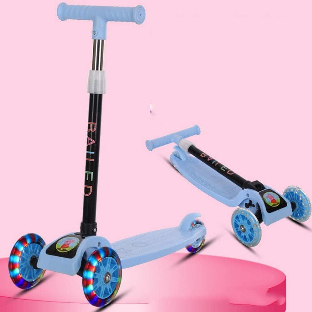 Scooter Infantil Plegable Rueda Flash de PU Scooter para bebé, con Barra en T Ajustable y Rueda Intermitente para niños niñas niños de 2 a 8 años, Carga máxima 70 kg