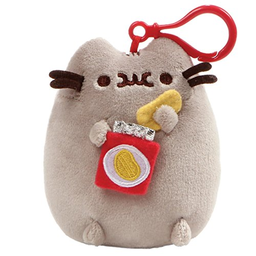 GUND Pusheen Snackable Chips Cat Plush Stuffed Animal Backpack Clip, Gray, 5""