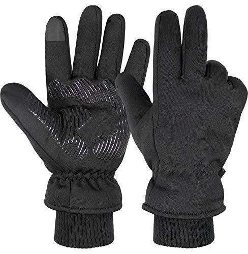 Schi Handschuhe Winter Herren Damen Motorrad Skihandschuh Touchscreen Wasserdicht Warme Kaltes Wetter Thermal Rutschfest Atmungsaktiv Winddicht für Frauen Draußen Sport Frauen Schi (schwarz, L)