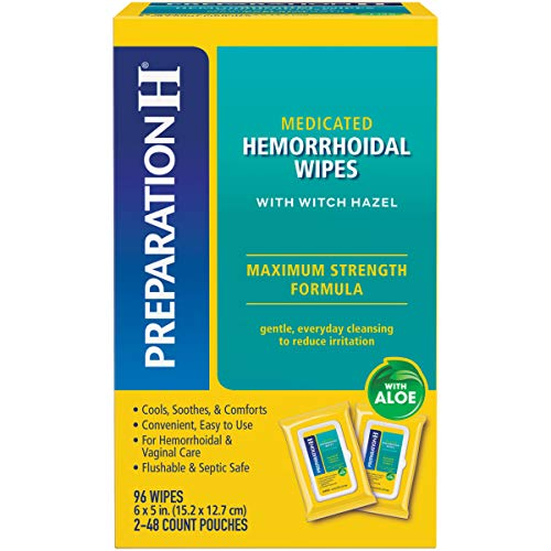 Preparation H Flushable Medicated Hemorrhoid Wipes, Maximum Strength Relief with Witch Hazel, Pouch (2 x 48 Count, 96 Count)