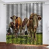LWXBJX Opacas Cortinas Dormitorio - Vaca Animal de pastizales -...