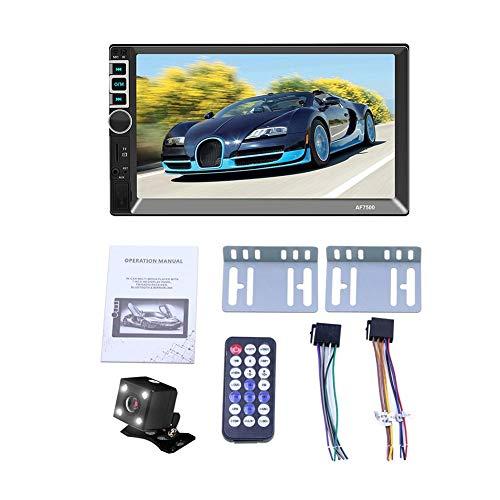 WXGY 7-Zoll-2-DIN-MP5-Auto-Player, Bluetooth-Touchscreen con USB-Lade- / TF-Interfaz Stereoradio-Rückfahrkamera-Unterstützung para Android- y iOS-System-Image-Verbindung, mit Kamera