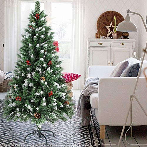 GJXJY Artificial Christmas Tree Ornaments, Snow Flocked Artificial Christmas Tree Pine Tree, Tree Foldable Metal Bracket Indoor Outdoor, The Best Holiday Decoration180cm/6ft
