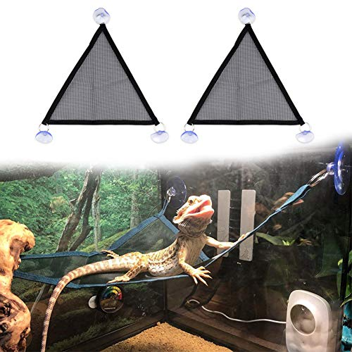 TODU ペット用品 ペットハンモック 爬虫類向け 爬虫類 トカゲ 小動物 メッシュ 爬虫類マット 両生類おもちゃ 飼育ケージ内装 吸盤付き 通気性 取り付け簡単ハンモック 2枚セット (S)