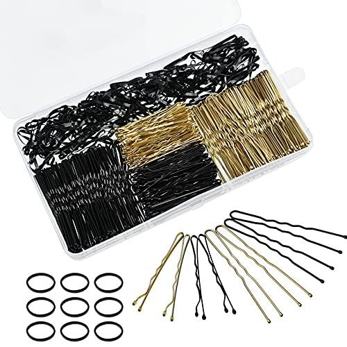 600 Stück Bobby Pins 400 Haarnadeln Haarspangen und 200 Stück Haarbänder für Frauen Mädchen (Schwarz, Gold)