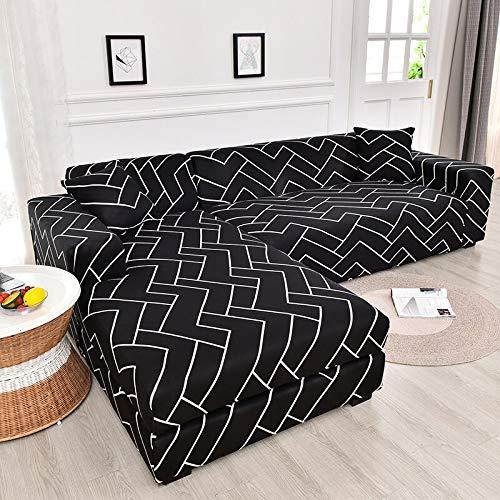 ASCV Funda de sofá elástica geométrica para Sala de Estar Funda de sofá de Esquina Funda de sofá en Forma de L Funda de sofá A8 2 plazas